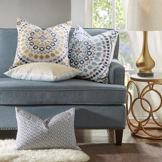 Madison Park Signature Grace Cotton Square Pillow With Embroidered 2 Color  Option
