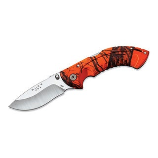 "Buck Knives Omni Hunter Folding, 10PT 3"" Plain Blade, Drop Point, Mossy Oak Blaze Handle, Boxed"