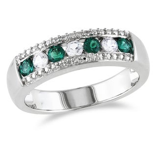 Catherine Catherine Malandrino Channel-Set Created White Sapphire and Simulated Emerald Anniversary Band in Sterling Silver