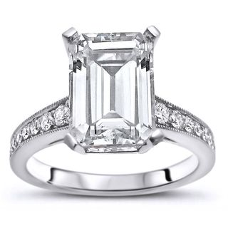 Noori 14k White Gold 2 3/5ct TGW Emerald-cut Moissanite and 1/5ct TDW Diamond Engagement Ring (G-H, SI1-SI2)