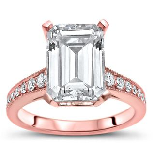 Noori 14k Rose Gold 2 3/5ct TGW Emerald-cut Moissanite and 1/5ct TDW Diamond Engagement Ring (G-H, SI1-SI2) - White