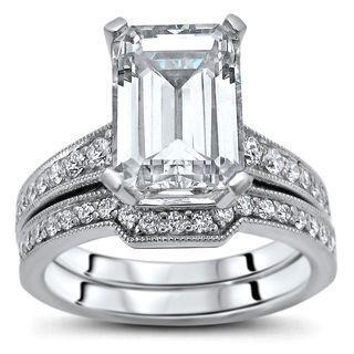 Noori 14k White Gold 2 3/5ct TGW Moissanite and 2/5ct TDW Diamond Bridal Ring Set (G-H, SI1-SI2)