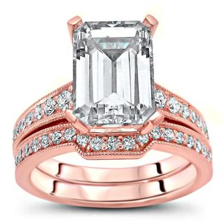 Noori 14k Rose Gold 2 3/5ct TGW Emerald-cut Moissanite and 2/5ct TDW Diamond Bridal Ring Set (G-H, SI1-SI2) - White