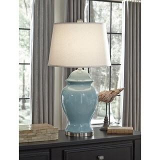 Signature Design by Ashley Darena Blue Ceramic Table Lamp