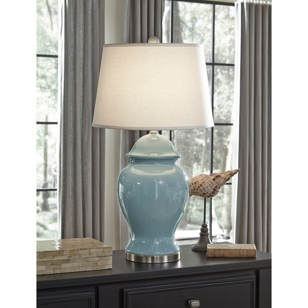 Shop Signature Design By Ashley Darena Blue Ceramic Table Lamp