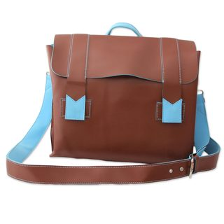 Handcrafted Faux Leather 'Practical Chocolate' Messenger Bag (India)