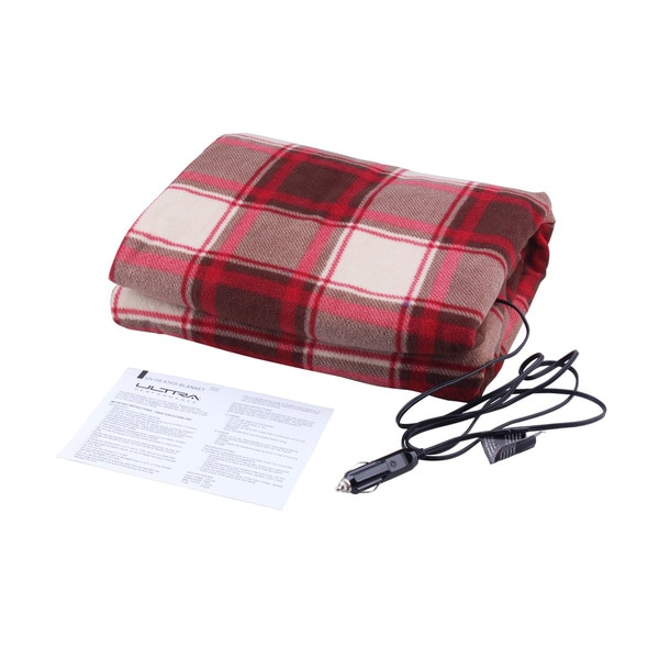 Ultra Performance Red Plaid 12V Heated Travel Blanket