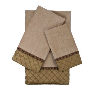 Sherry Kline Pleated Diamond Royal Gold 3-piece Embellished Towel Set
