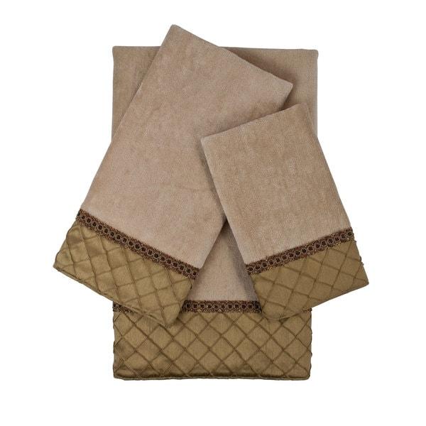 Sherry Kline Pleated Diamond Royal Gold 3-piece Embellished Towel Set