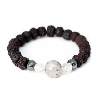 Handmade Polished Rudraksha and Quartz Wrist Mala Bracelet - Global Groove (Thailand)
