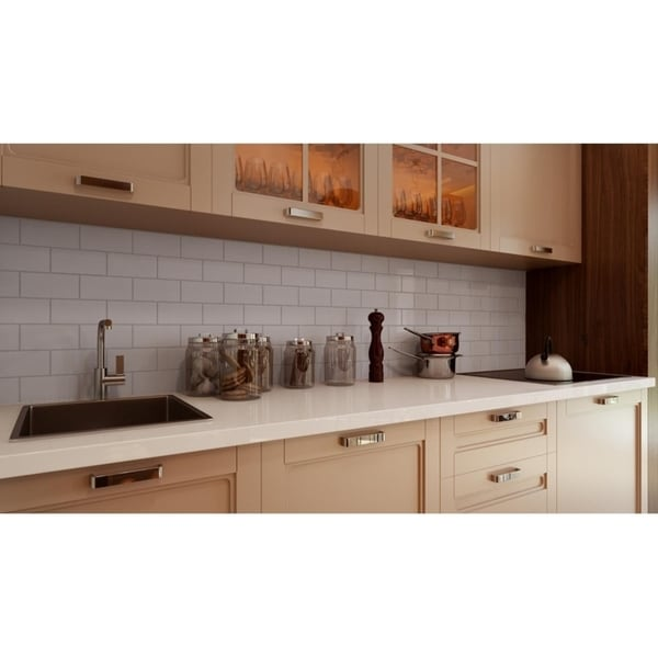 Giorbello Light Grey Ceramic 3x6 Subway Tiles Case Of 14 5 Sq Ft