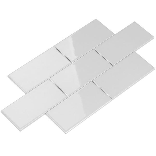 Giorbello Light Grey Ceramic 3x6 Subway Tiles (Case of 14.5 Sq Ft)