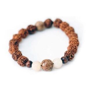 Handmade Rudraksha and Tiger's Eye Wrist Mala Bracelet - Global Groove (Thailand)