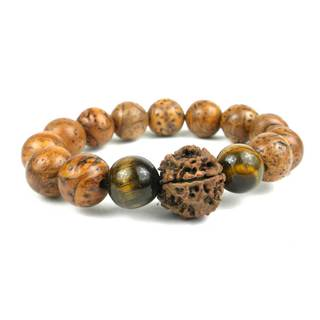 Handmade Bodhi and Tiger's Eye Wrist Mala Bracelet - Global Groove (Thailand)