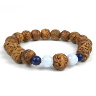 Handmade Bodhi and Blue Lace Agate Wrist Mala Bracelet - Global Groove (Thailand)