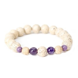 Handmade Lotus Seed and Amethyst Wrist Mala Bracelet - Global Groove (Thailand)