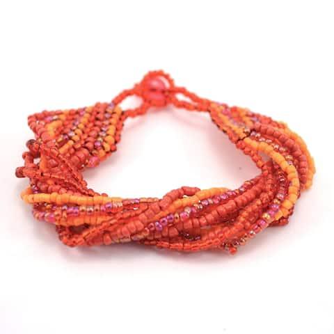 Handmade 12 Strand Red & Orange Beaded Bracelet - Lucia's Imports (Guatemala)