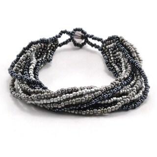 Handmade 12 Strand Black & Grey Beaded Bracelet - Lucia's Imports (Guatemala)