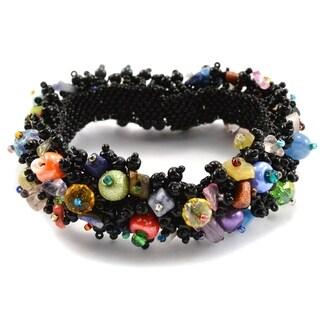 Handmade Magnetic Black Beach Ball Caterpillar Bracelet - Lucia's Imports (Guatemala)