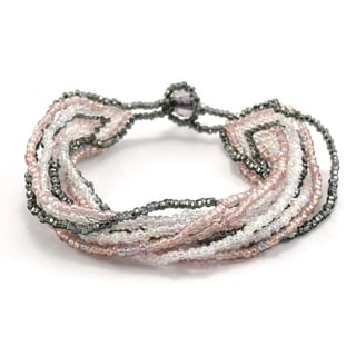 Handmade 12 Strand Pink & Grey Beaded Bracelet - Lucia's Imports (Guatemala)