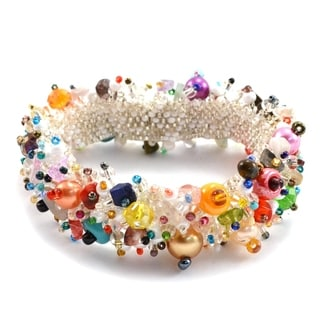 Handmade Magnetic Champagne Beach Ball Caterpillar Bracelet - Lucia's Imports (Guatemala)