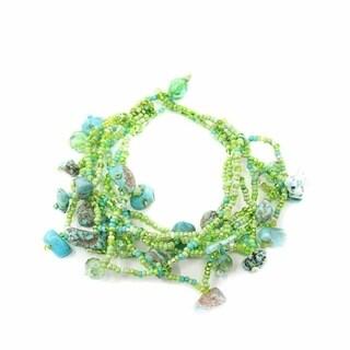 Handmade Green & Blue Chunky Stone Bracelet - Lucia's Imports (Guatemala)
