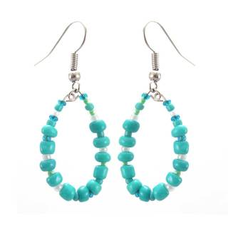 Handmade Turquoise Hope Hoop Earrings - Lucia's Imports (Guatemala)