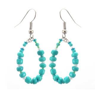 Handmade Turquoise Hope Hoop Earrings - Lucia's Imports (Guatemala)