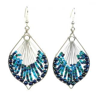 Handmade Blue Peacock Beaded Earrings - Lucia's Imports (Guatemala)