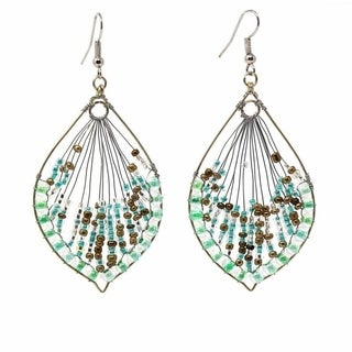 Handmade Green Peacock Beaded Earrings - Lucia's Imports (Guatemala)
