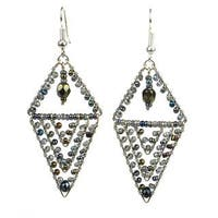 Handmade Grey Pyramid Beaded Earrings - Lucia's Imports (Guatemala)