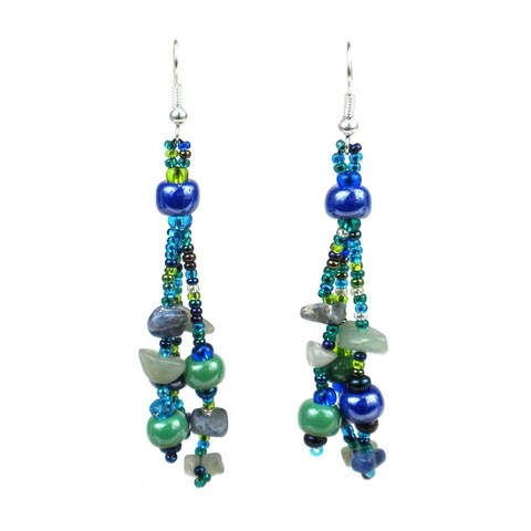 Handmade Blue & Green Beaded Beach Ball Earrings - Lucia's Imports (Guatemala)