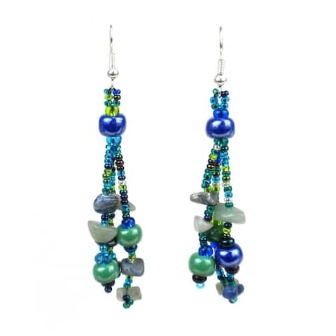 Handmade Beaded Beach Ball Earrings - Lucia's Imports (Guatemala)