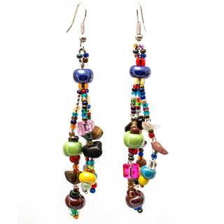 Handmade Multicolor Beaded Beach Ball Earrings - Lucia's Imports (Guatemala)