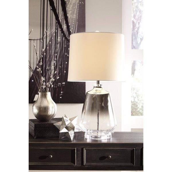 Signature Design by Ashley Jaslyn Silver Finish Glass Table Lamp