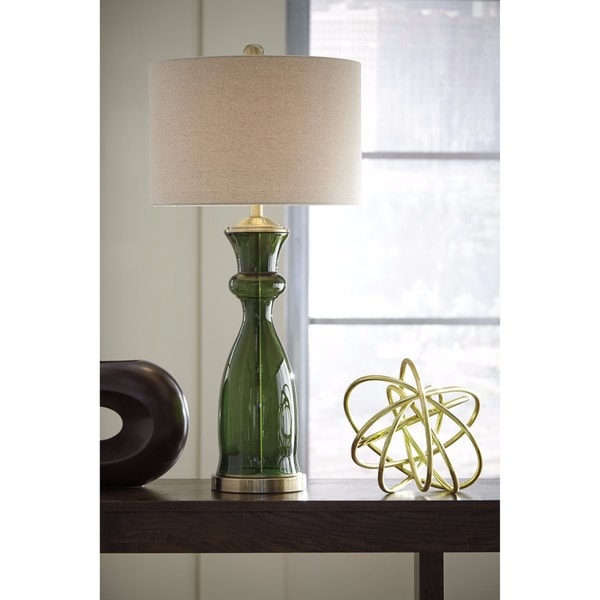 Signature Design by Ashley Ambrogio Green Glass Table Lamp