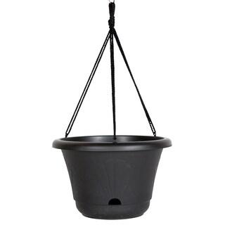 Bloem Lucca Black Plastic 13-inch Self-watering Hanging Basket