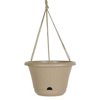 Bloem Lucca Taupe Plastic Self Watering Hanging Planter Basket