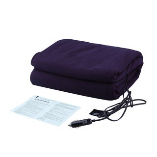 Ultra Performance Navy-blue Fleece 12-volt Heated Travel Blanket