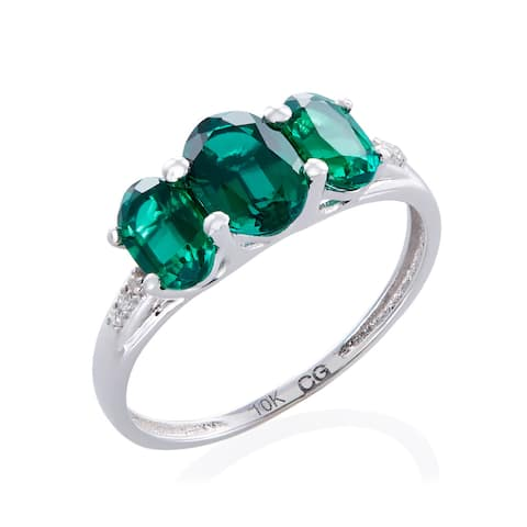 10k White Gold 1.53ct TW Emerald and Diamond 3-stone Ring (G-H, 12-13) - Green