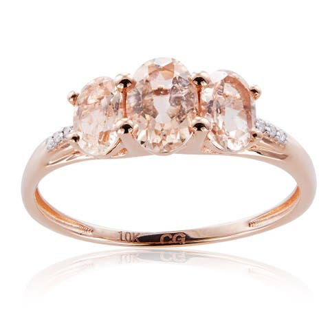 10K Rose Gold 1.51ct TW Morganite and Diamond 3-Stone Ring (G-H, I2-I3) - Pink