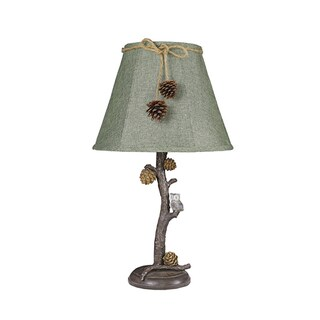 Somette Pine Branch and Owl Dark Green Shade Lamp