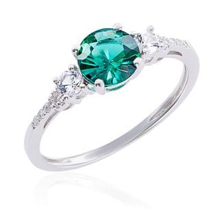 10k White Gold Emerald, Diamond, and White Topaz Ring