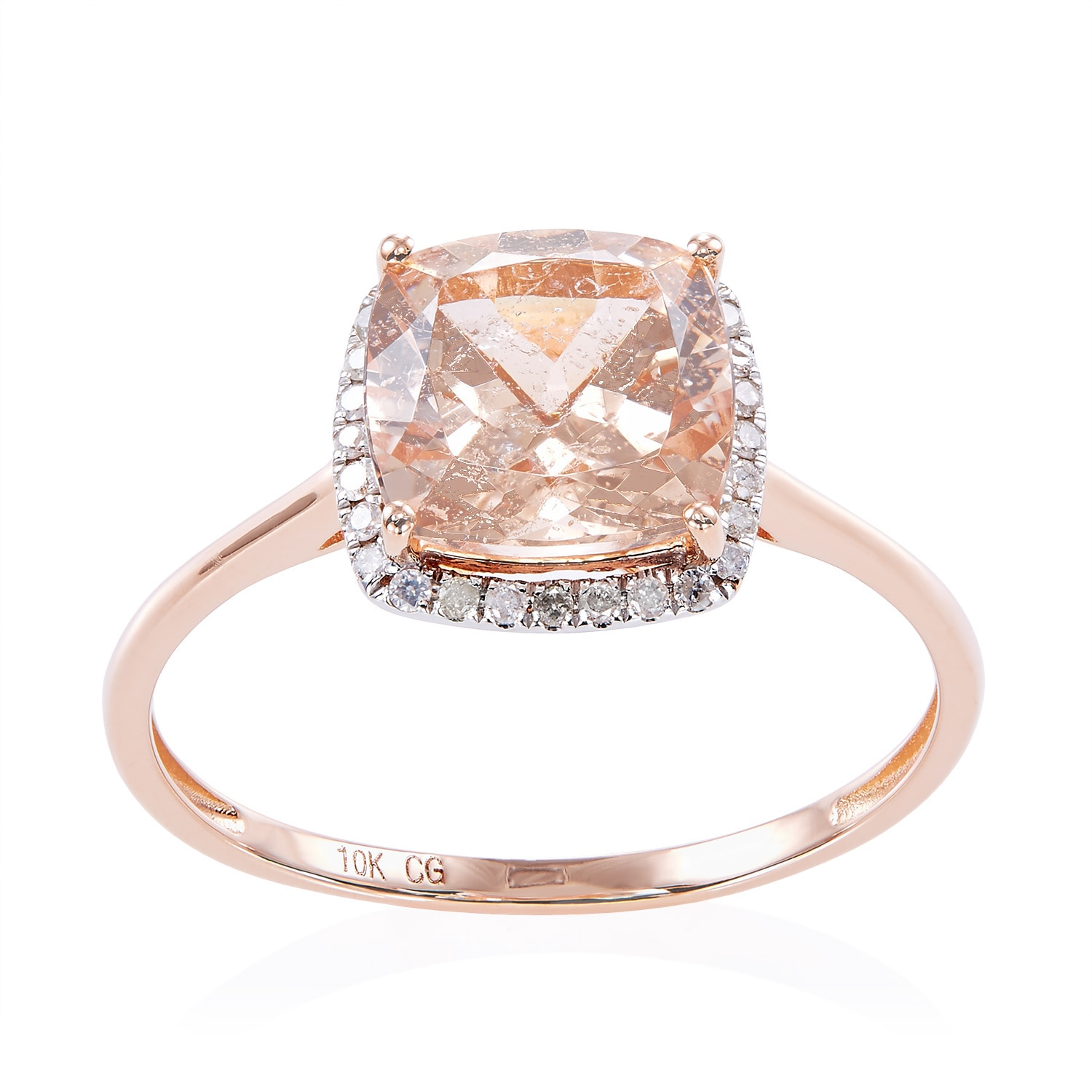 Color 10k Rose Gold Morganite and Diamond Accent Ring (Si...