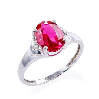 10k White Gold Created Ruby and Diamond Accent Ring