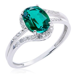 10k White Gold Emerald and 1/8ct TDW White Diamond Ring (G-H, 12-13)