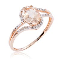 10k Rose Gold Morganite and Diamond Accent Ring - Pink