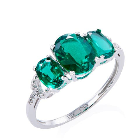 10k White Gold Created Emerald and Diamond Accent Ring - Green