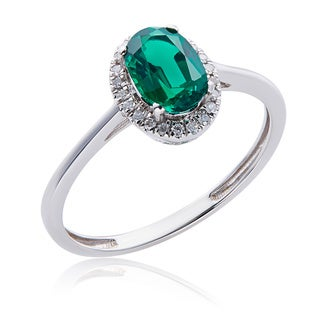 10k White Gold .71ct TW Emerald and Diamond Halo Ring (G-H, 12-13)