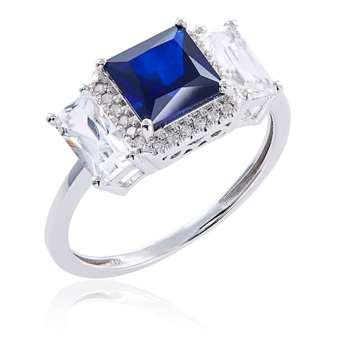 10k White Gold Created Sapphire and Diamond Accent Ring - Blue